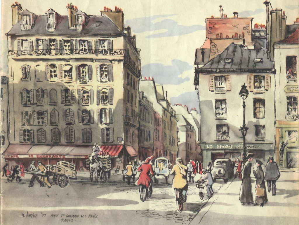 Cover illustration of Jan 1948 The Lamp, Mimi Korach; Place Ste Germaine Des Pres, Paris
