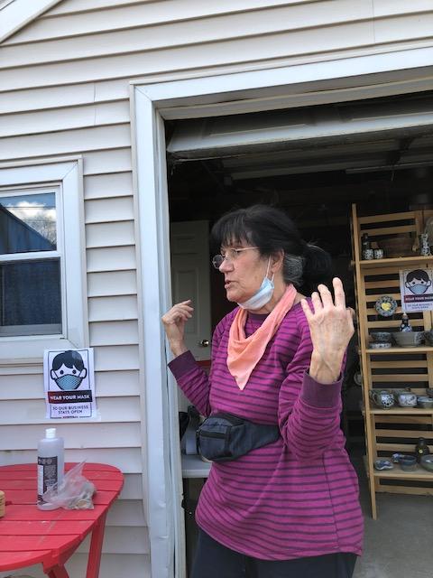 Marie outside her studio